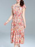 ByChicStyle Swing Round Neck Maxi Dress In Abstract Print - Bychicstyle.com