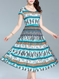 ByChicStyle Round Neck Swing Maxi Dress In Paisley Striped Printed - Bychicstyle.com