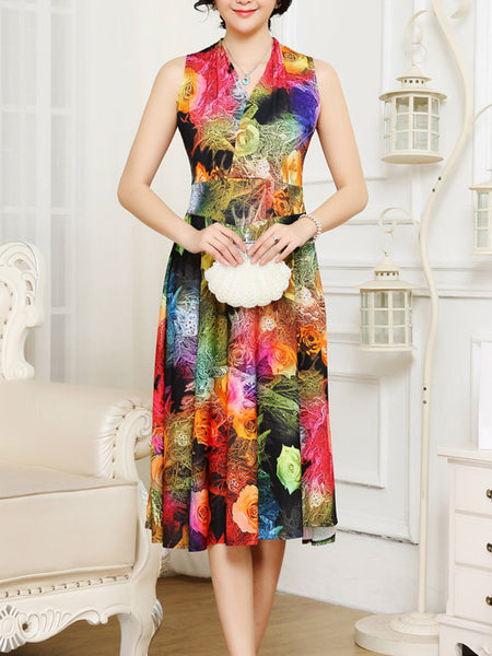 Casual V-Neck Stunning Floral Printed Sleeveless Maxi Dress