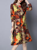 ByChicStyle Round Neck Printed Shift Dress With Patch Pocket - Bychicstyle.com