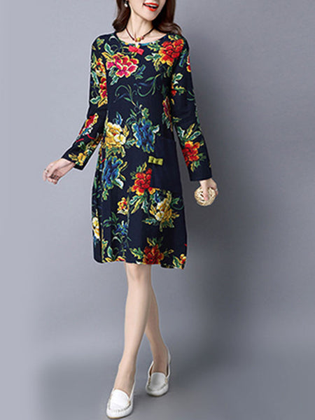 Round Neck Printed Shift Dress With Patch Pocket - Bychicstyle.com
