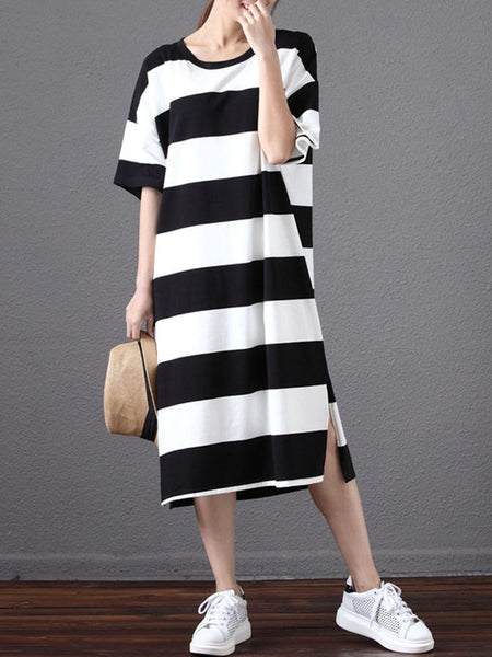 Round Neck Color Block Striped Loose Maxi Dress - Bychicstyle.com