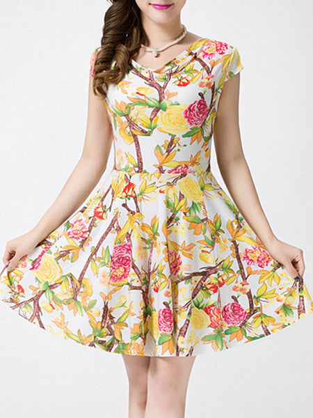 Floral Printed Polyester Cowl Neck Skater Dress - Bychicstyle.com