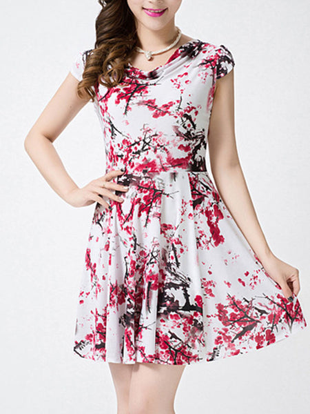 Cowl Neck Painted Print Skater Dress - Bychicstyle.com