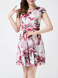 ByChicStyle Cowl Neck Painted Print Skater Dress - Bychicstyle.com