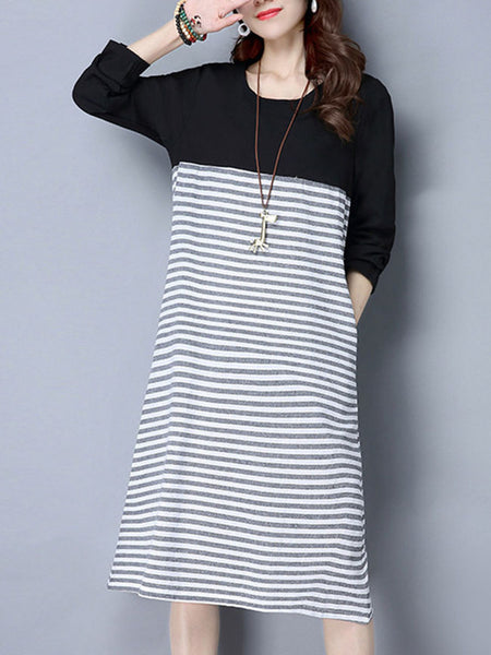 Loose Basic Round Neck Pocket Striped Maxi Dress - Bychicstyle.com