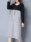 ByChicStyle Loose Basic Round Neck Pocket Striped Maxi Dress - Bychicstyle.com