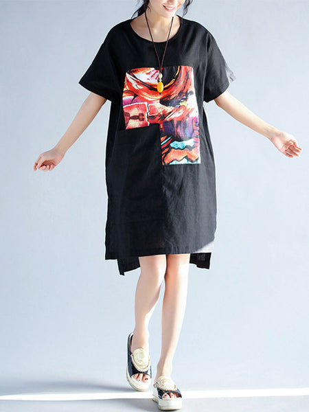 Round Neck Side Slit Printed High-Low Shift Dress - Bychicstyle.com