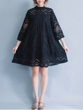 ByChicStyle Band Collar Hollow Out Plain Loose Lace Shift Dress - Bychicstyle.com