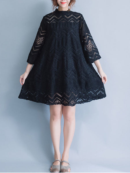 Band Collar Hollow Out Plain Loose Lace Shift Dress - Bychicstyle.com