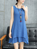 ByChicStyle Casual Round Neck Asymmetric Hem Solid Double Layer Shift Dress