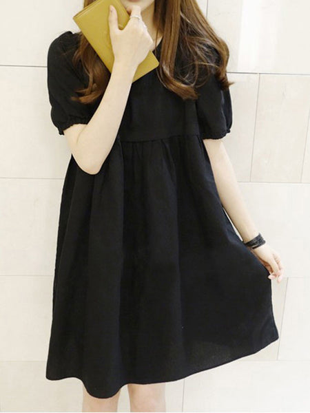 Round Neck Plain Puff Sleeve Shift Dress - Bychicstyle.com