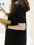 ByChicStyle Round Neck Plain Puff Sleeve Shift Dress - Bychicstyle.com