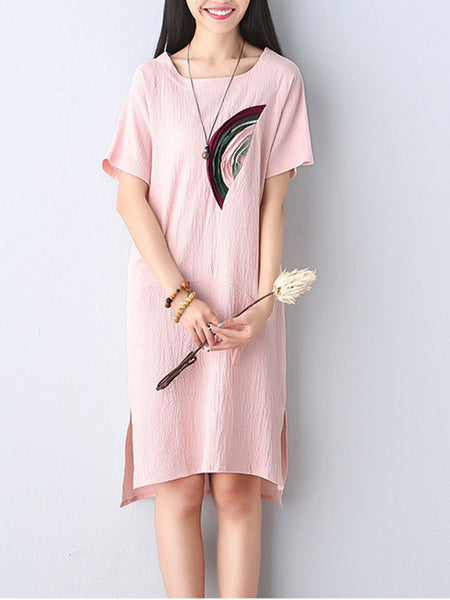 Decorative Patch Round Neck Shift Dress - Bychicstyle.com