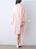 ByChicStyle Decorative Patch Round Neck Shift Dress - Bychicstyle.com