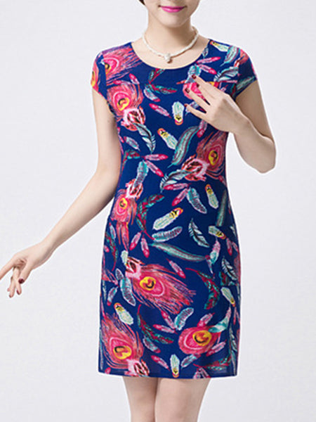 Fantastic Round Neck Feather Printed Bodycon Dress - Bychicstyle.com