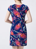 ByChicStyle Fantastic Round Neck Feather Printed Bodycon Dress - Bychicstyle.com