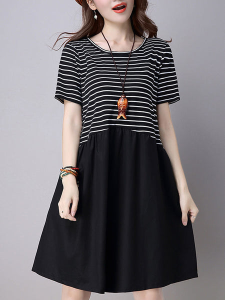 Round Neck Striped Simple Shift Dress - Bychicstyle.com