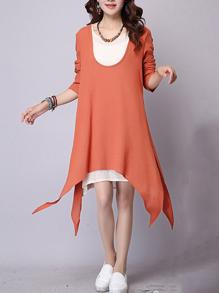 Casual Asymmetric Hem Color Block Shift Dress