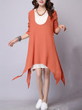 ByChicStyle Casual Asymmetric Hem Color Block Shift Dress