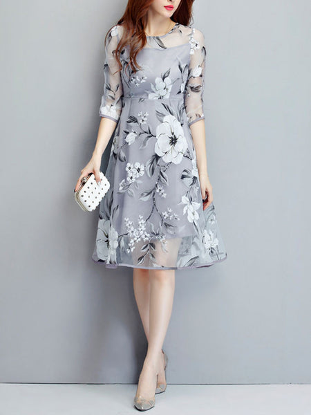 Round Neck  Floral Hollow Out Captivating Skater Dress - Bychicstyle.com