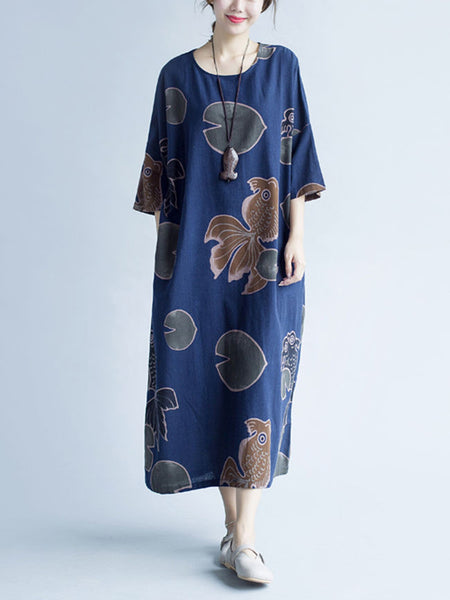 Round Neck Slit Pocket Printed Loose Maxi Dress - Bychicstyle.com
