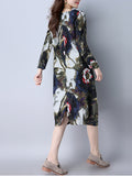 ByChicStyle Loose Printed Round Neck Pocket Shift Dress - Bychicstyle.com