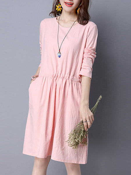 Simple Round Neck Drawstring Plain Skater Dress - Bychicstyle.com