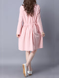 ByChicStyle Simple Round Neck Drawstring Plain Skater Dress - Bychicstyle.com