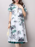 ByChicStyle Round Neck Side Slit Floral Printed Maxi Dress - Bychicstyle.com
