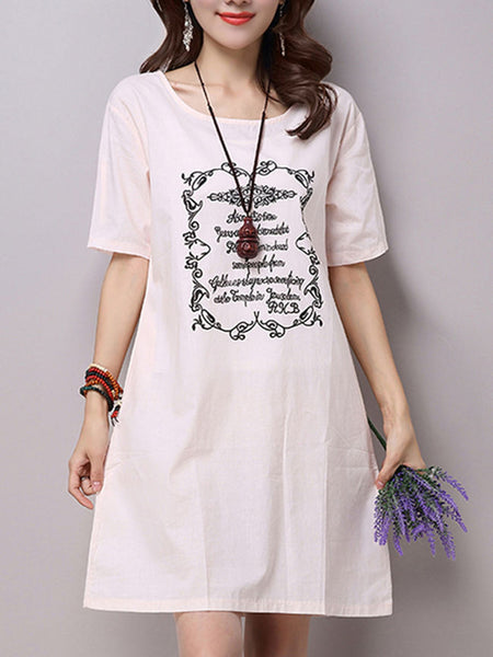 Printed Round Neck Pocket Shift Dress With Short Sleeve - Bychicstyle.com