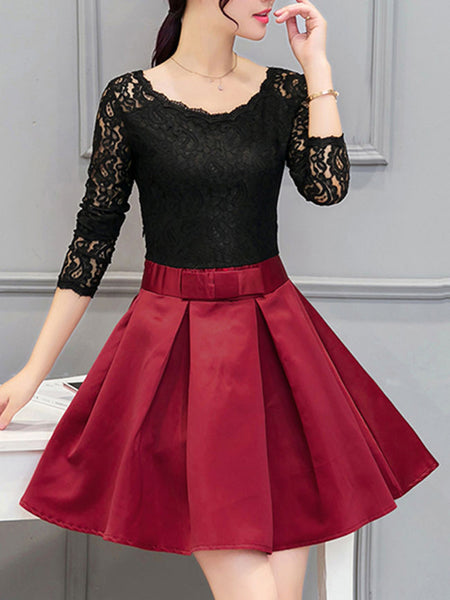 Round Neck Inverted Pleat Patchwork Hollow Out Polyester Skater Dress - Bychicstyle.com