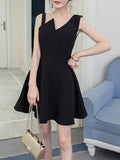 ByChicStyle Casual Asymmetric Neck Solid Skater Dress