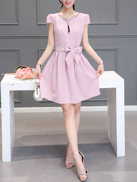Casual Round Neck Bowknot Plain Skater Dress With Puff Sleeve