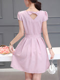 ByChicStyle Casual Round Neck Bowknot Plain Skater Dress With Puff Sleeve
