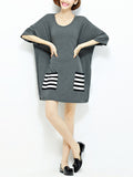 ByChicStyle Round Neck Shift Dress With Striped Patch Pocket - Bychicstyle.com