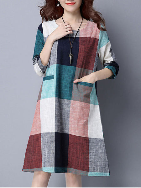 Casual Color Block Plaid Round Neck Pocket Shift Dress - Bychicstyle.com