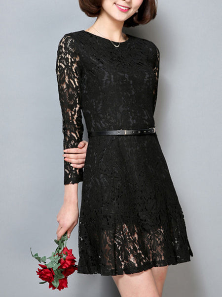 Solid Round Neck Belt Hollow Out Lace Skater Dress - Bychicstyle.com