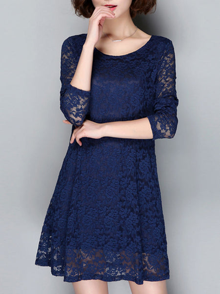 Chic Round Neck Hollow Out Solid Shift Dress - Bychicstyle.com