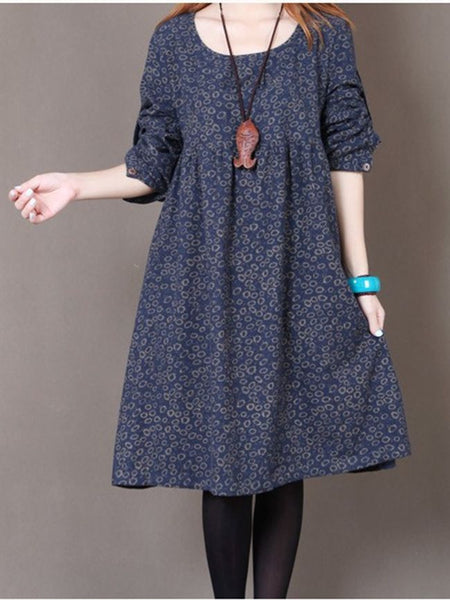 Round Neck Printed Stunning Shift Dress - Bychicstyle.com