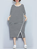 ByChicStyle Round Neck Slit Slit Pocket Striped Oversized Maxi Dress - Bychicstyle.com