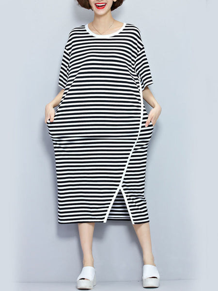 Round Neck Slit Slit Pocket Striped Oversized Maxi Dress - Bychicstyle.com