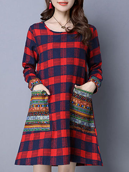 Round Neck Plaid Tribal Printed Shift Dress With Patch Pocket - Bychicstyle.com