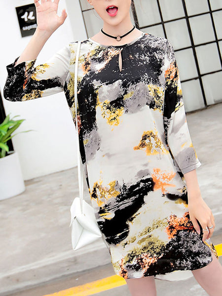 Round Neck Keyhole Abstract Print Shift Dress - Bychicstyle.com