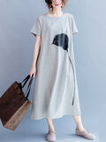 ByChicStyle Slit Pocket Printed Loose Maxi Dress - Bychicstyle.com