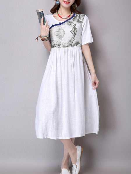Round Neck Printed Loose Swing Maxi Dress - Bychicstyle.com