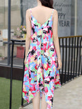 ByChicStyle Spaghetti Strap Asymmetric Hem Chiffon Maxi Dress In Abstract Print - Bychicstyle.com