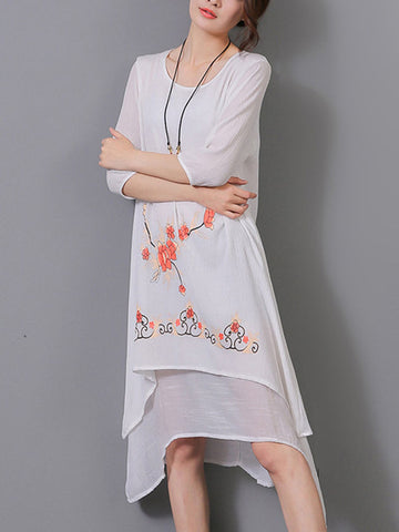 Casual Asymmetric Hem Hollow Out Printed Shift Dress