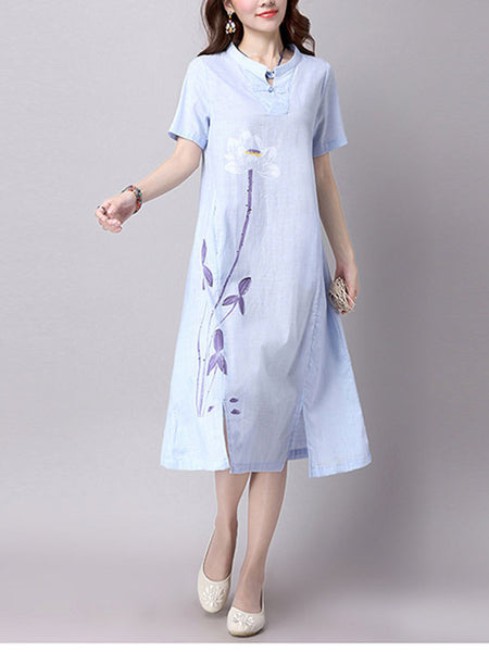 Split Neck Slit Printed Midi Loose Shift Dress - Bychicstyle.com