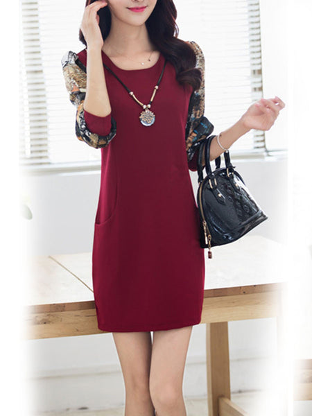 Decorative Necklace Round Neck Pocket Printed Bodycon Dress - Bychicstyle.com